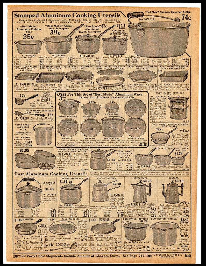 Antique Kitchen Cooking Utensils 1914 Original Period Sears Catalog Ad Stamped Cast Aluminum Pans Pie Plates Kettles Kitchenware Kitchen Art - Paperink Graphics