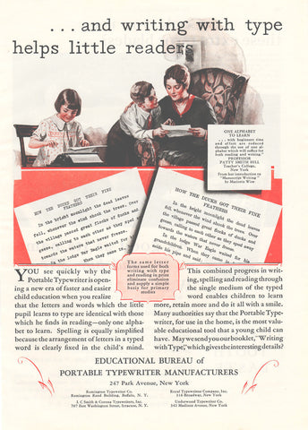 Antique Collectible AD 1929 Typing Writing with Type Educational Bureau Portable Typewriter Manufacturers Park Ave NY American Manufacturing