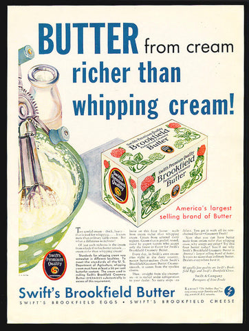 Butter Collectible Advertising 1923 Print Ad Swifts Brookfield Butter Box Packaging Graphic Arts Kitchen Food Art Advertisement