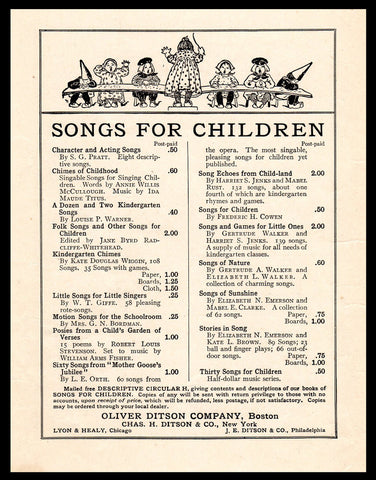 1889 Antique Collectible Art Print AD Oliver Ditson Co., Boston Print Advertisement Children Music Graphic Arts Wall Display Artwork AD