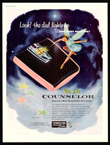 1956 Vintage Fairy Dust Star Lite Counselor Scale Print AD Magical Wand Collectible Art Advertisement Bathroom Advertising Art to Frame - Paperink Graphics