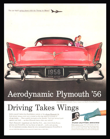 Classic 1956 Aerodynamic Plymouth Automobile AD Car Auto Advertising Magazine Advert Fins Chrome Styling Advertisement Vintage Jet Age Style - Paperink Graphics