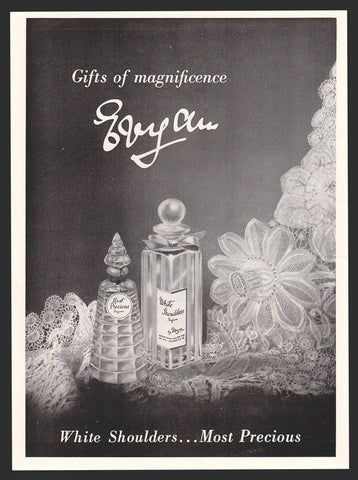 1954 AD Evyan White Shoulders, Most Precious Lovely Perfume Bottles Lace Display Product Packaging Illustration Lovely Advertising  to frame