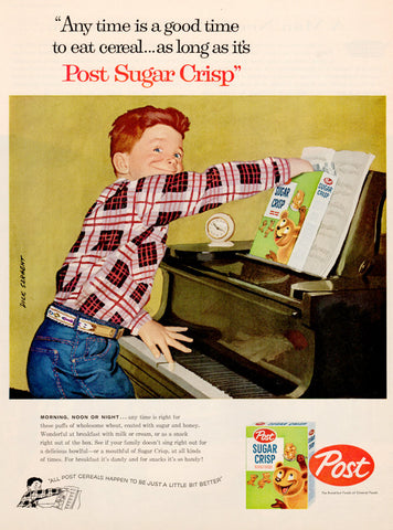 Sugar Bear Vintage Post Sugar Crisp Cereal Ad D. Sargent Artwork Collectible Art Advertisement Boy Playing Piano Advertising Art to Frame