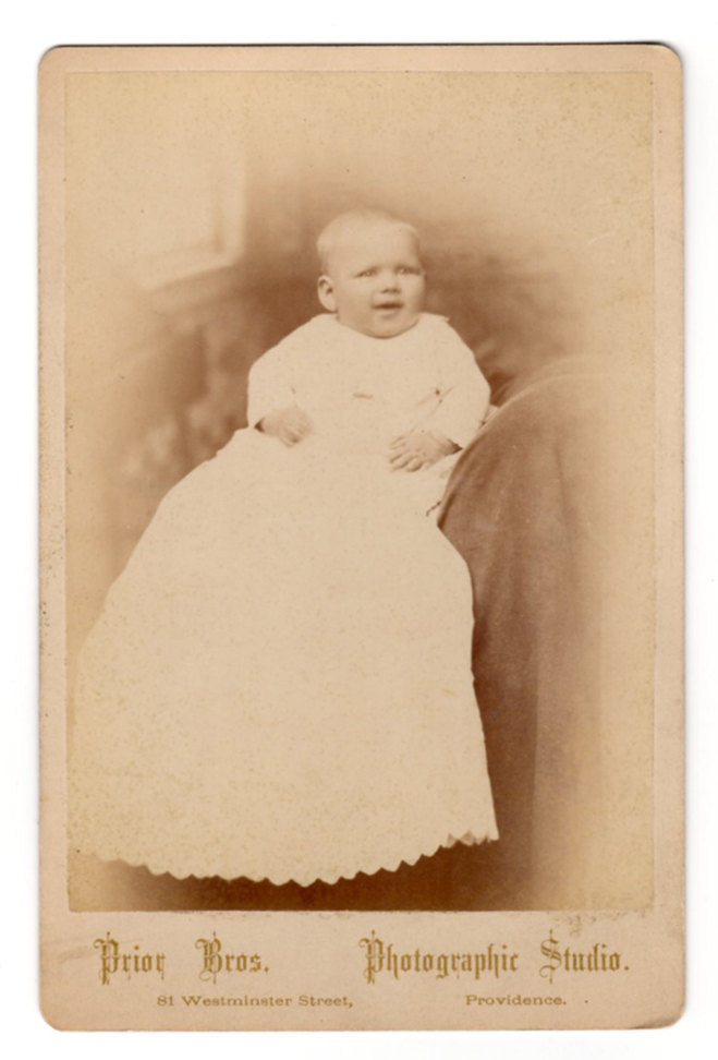 Antique Photograph Baby Bertha Portrait Photography Prior Bros. Photographic Studio Providence RI Early Sepia Cabinet Card Photograph