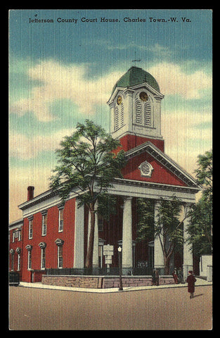 Charles Town Postcard West Virginia Jefferson County Court House WV PC