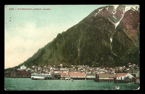 Juneau Alaska Postcard 1909 Waterfront Ferry Docked AK PC