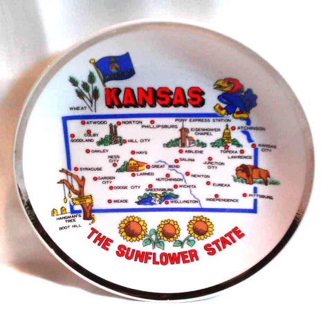 Kansas Souvenir Map Plate The Sunflower State Travel Memorabilia Collectible