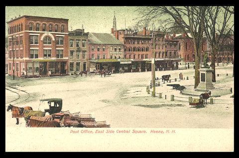 East Side Central Square Postcard New Hampshire Keene Snow Horses Monument Cannon NH PC