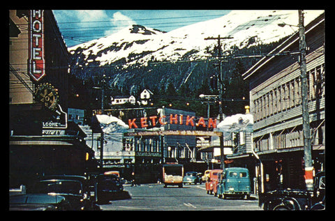Ketchikan Alaska Postcard 1959 Mission St. Vehicles Hotel Signage City AK PC