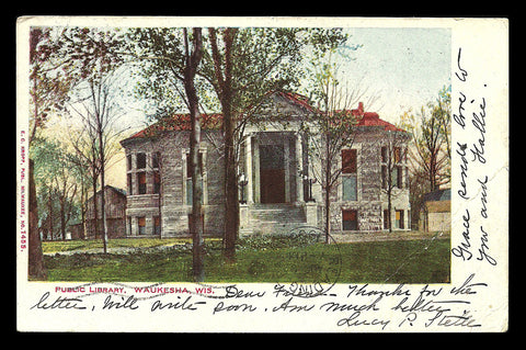 Library  Postcard 1906 Wisconsin Waukesha Curious Postal Bar Cancel WI PC