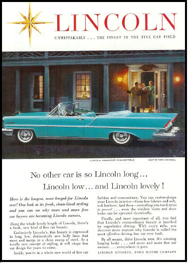 1957 Classic Lincoln Premiere Convertible Retro Fins Chrome White Walls AD