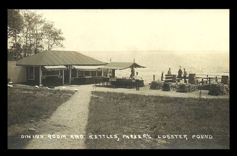 Parkers Lobster Pound Real Photo Postcard Maine Searsport Kettles Advertising ME RPPC