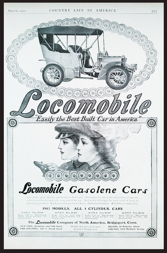 Antique Automobile AD 1905 Art Print AD Locomobile Early Auto Print Advertisement Beautiful Women Two Women Drivers Artwork AD - Paperink Graphics