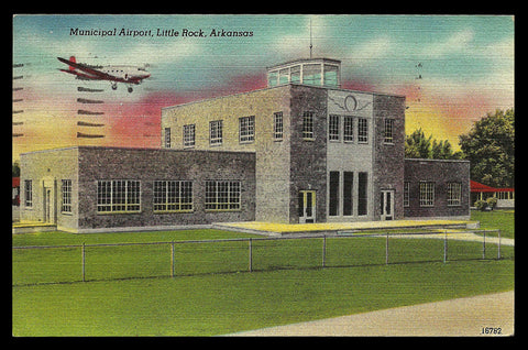 Little Rock Airport Postcard 1946 Arkansas Airplane Arrival Flight Control Tower AR PC