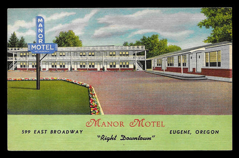 Manor Motel Postcard Oregon Eugene Downtown Fishing Tennis Bowling Depots OR PC