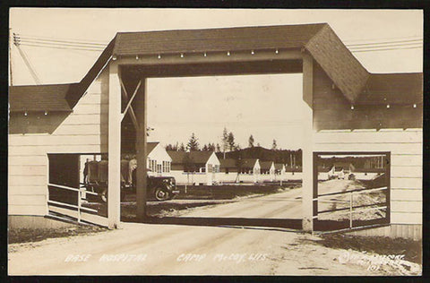 Camp McCoy Genealogy Real Photo Postcard Wisconsin 1943 Nurse Base Hospital Entrance WI RPPC