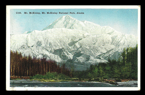 Mt McKinley Postcard 1931 Mt McKinley National Park Alaska Denali Nat'l Park  AK PC