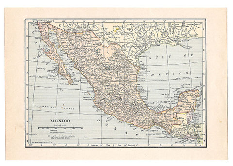Map 1922 Mexico Map Antique Wall Decor Suitable for Framing Collage Travel Memorabilia - Paperink Graphics