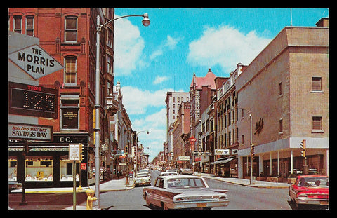 Market St Storefronts Postcard West Virginia Wheeling Bank Storefronts Cars Signs WV PC