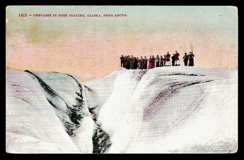 Muir Glacier Postcard 1909 Alaska Crevasse Early Tourists  AK PC