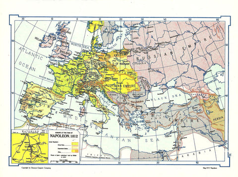 1966 Map Europe at the time of Napolean 1812 Wall Decor Suitable for Framing Collage Art Mixed Media