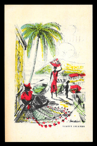 Beach Family Graphic Arts Postcard 1957 Virgin Islands St Thomas VI PC