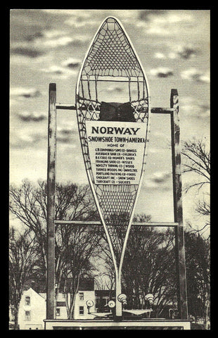 Snowshoe Town Sign Postcard Maine Norway Sign Lighted Snowshoe Lists Businesses ME PC