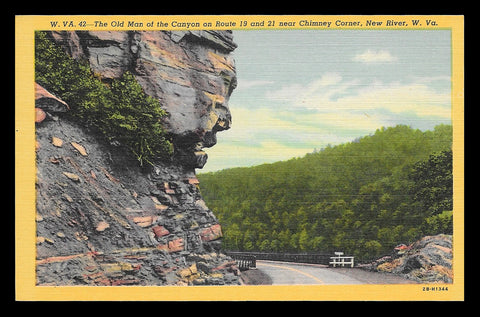 Old Man Postcard West Virginia New River Canyon near Chimney Corner  WV PC
