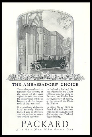 Ambassadors Choice Packard Luxury Autos 1926 Print Automobile Ad - Paperink Graphics