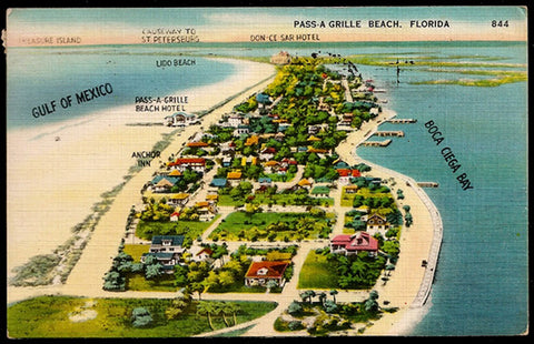 Pass-A-Grille Beach Postcard 1950 Florida St. Pete