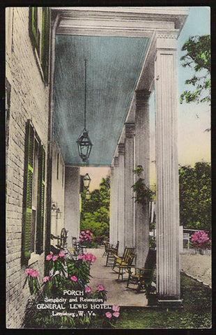 General Lewis Hotel Postcard West Virginia Lewisburg Hotel Porch Albertype Handcolored WV PC