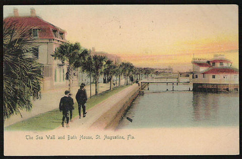 St. Augustine 1905 Postcard Florida Bath House Sea Wall