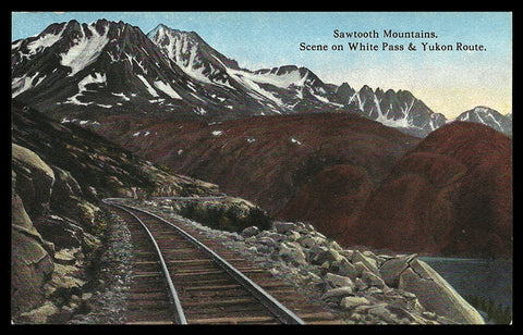 Sawtooth Mt RR Postcard Alaska Railroad 1914 White Pass Yukon Route Mile 15 AK PC