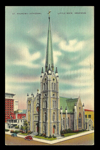 St. Andrew Cathedral Postcard 1944 Little Rock Arkansas