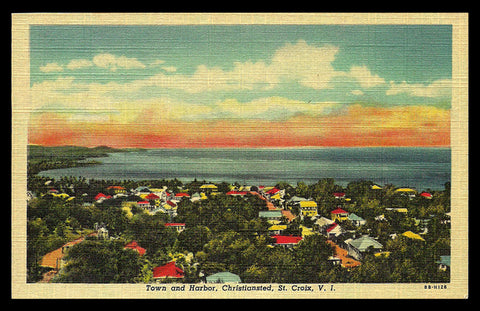 Christiansted Postcard St. Croix Virgin Islands Town and Harbor VI PC