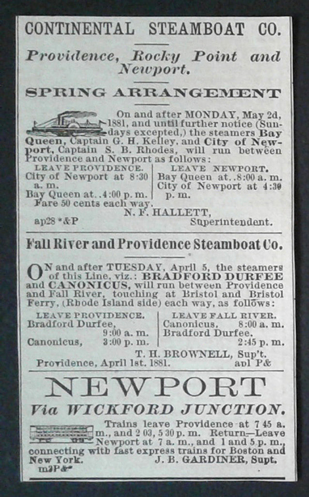 Antique AD 1881 Continental Steamboat Co. Providence Rocky Point Newport RI a22 Transportation Advertisement - Paperink Graphics