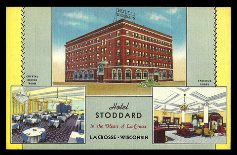 Hotel Stoddard Postcard Wisconsin LaCrosse Exterior Interior Views Advertising WI PC