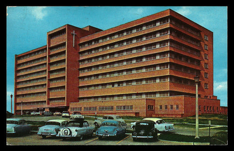 St Vincent Infirmary Postcard 1956 Arkansas Little Rock Cars Autos AR PC