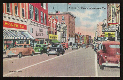 Petersburg Storefronts Postcard Virginia Sycamore Street Autos Signs Trucks Free Military VA PC