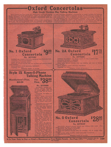 Talking Machines Phonographs 1914 Audio AD Four Models Original Period Sears 1914 Pink Catalog Ad
