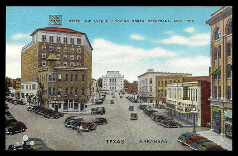 Texas Arkansas Line Postcard State Line Avenue Hotel Early Cars