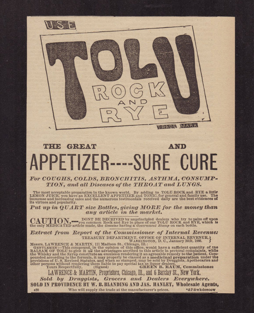 Antique Quack Medicine AD 1881 TOLU Rock Rye Appetizer Cure a25 Advertisement - Paperink Graphics