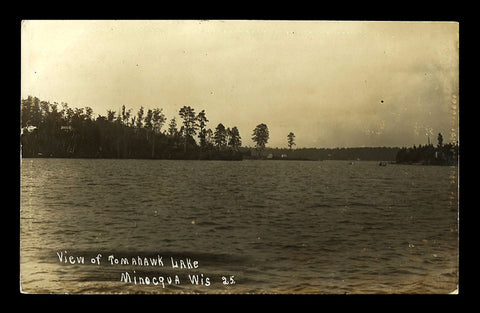 Minocqua  Lake Real Photo Postcard 1908 Wisconsin  RPPC WI