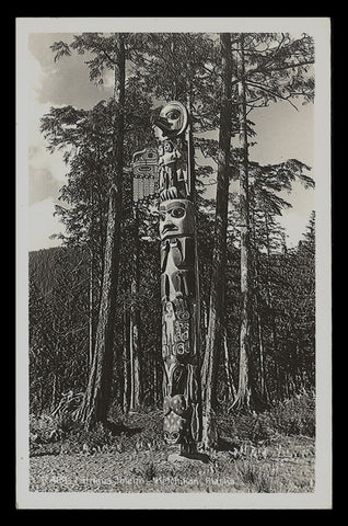 Totem Raven Flood Real Photo Postcard 1953 Alaska Ketchikan 1953 AK RPPC