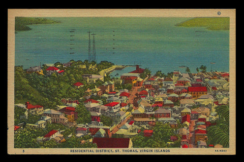 St Thomas Postcard 1957 Virgin Islands Broadcast Towers Residential VI PC