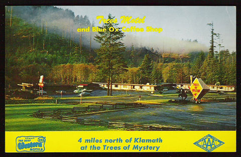 Trees Motel Postcard California Blue Ox Coffee Shop Redwoods CA PC