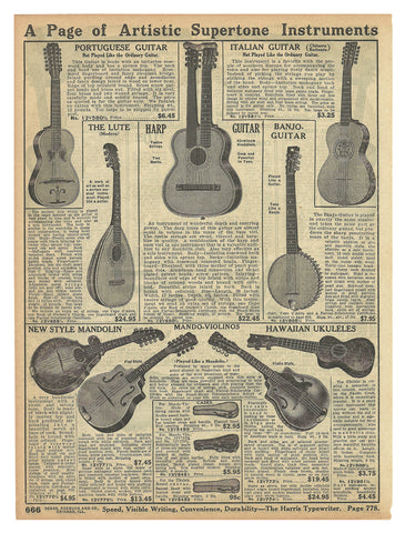 Hawaiian Ukulele 1914 AD Musical Instruments String 8 Instruments Original Period Sears 1914 Catalog AD
