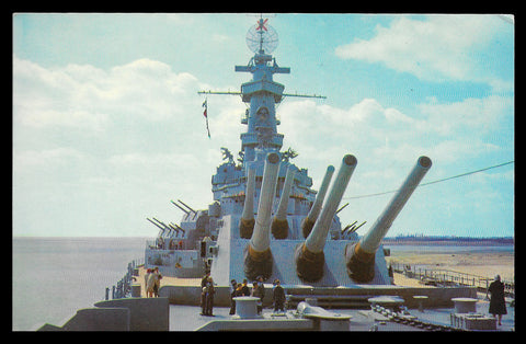 USS Alabama Postcard 1965 Alabama Battleship Big Guns AL PC