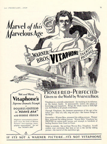 Warner Bros. AD 1929 VITAPHONE Talking Pictures Advertisement Graphic Arts Ad - Paperink Graphics